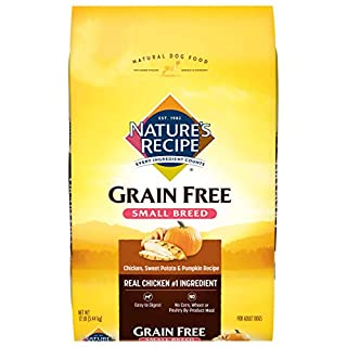 Nature's Recipe Grain Free Small Breed Dry Dog Food, Chicken, Sweet Potato & Pumpkin Recipe, 12 Pounds, Easy to Digest