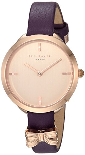 Ted Baker Women's 'Elana' Quartz Stainless Steel and Leather Casual Watch, Color Purple (Model: TE15198005)