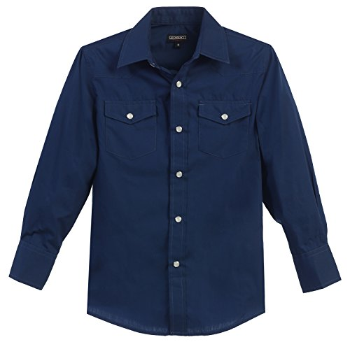 Gioberti Little Boys Casual Western Solid Long Sleeve Shirt with Pearl Snaps, Navy, Size 4