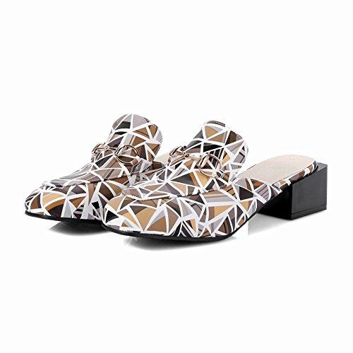 Carolbar Mujeres Square Toe Sandalias De Tacón Medio Impresas Ocasionales Zapatillas Amarillas