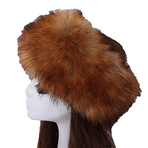 (Fur Hat for Women Fluffy Fox Fur Hat Headband Russian Winter Thick Warm Ears Fashion Bomber)