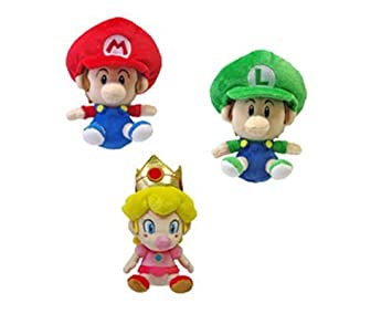 set of 3 sanei baby mario baby luigi baby peach plush doll