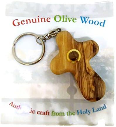 Land of Christ Olive Wood Comfort Holding Cross Keyring with Vial of Holyland Earth Made in Bethlehem Holyland