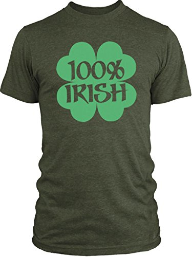 Vintage Shamrock Tri Blend (Big Texas 100% Irish Shamrock (Green) Vintage Tri-Blend T-Shirt, Military Green,)