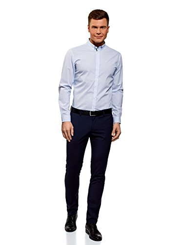 Ultra Cotone Stampata Uomo In Oodji Camicia 1078g Blu TvzwUyq