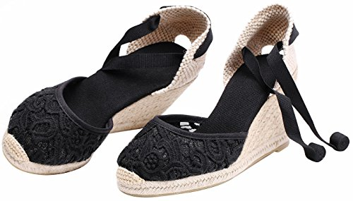 Sandalias de de cuña Mezclilla Tiras para Denim clásico Mujer Verano de tacón con de Alpargatas Cordones Negro con con Encaje xwqtIAOn6