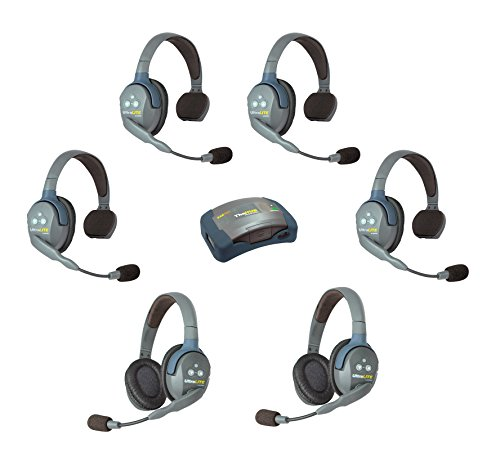 Eartec HUB624 UltraLITE Wireless System 2 Way Radio License-Free for 6 Users - 1 HUB Full Duplex Transceiver Base Station, 4-Pack of ULSR Single-Ear DECT Headset, 2-Pack ULDR Dual Ear Remote Headsets