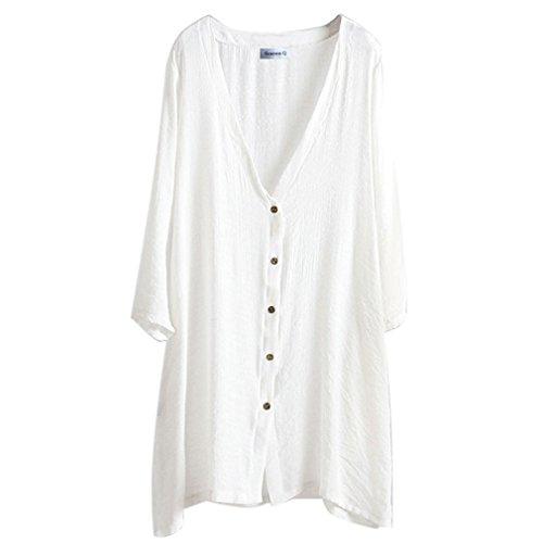 casual Gordon Plus da donna Bianco camicette lunga lino comfort Q size tqrRnPt