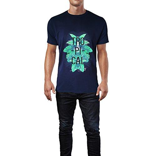 SINUS ART® Tropischer Print mit Palmblättern Herren T-Shirts in Navy Blau Fun Shirt mit tollen Aufdruck