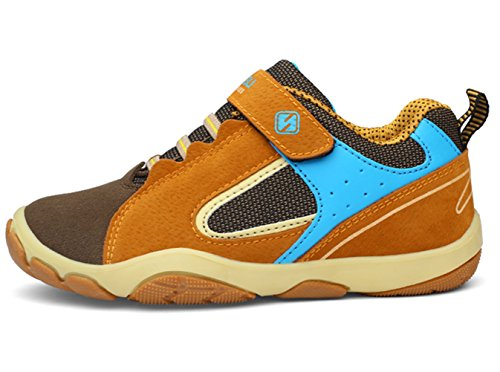 DADAWEN Kid's Outdoor Hiking Athletic Sneakers Strap Trail Running Shoes (Toddler/Little Kid/Big Kid) Brown US Size 5 M Big Kid by DADAWEN (Image #2)