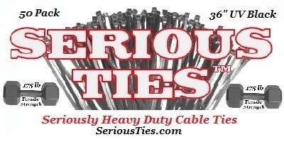 Clear Lake Enterprises 4332799513 50, 36 inch//175Lbs//UV Black Serious Ties Extra Heavy Duty Cable Ties