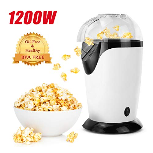 Read About Hot Air Popcorn Popper, 1200W Popcorn Maker, Electric Popcorn Machine for Home Use, No Oi...