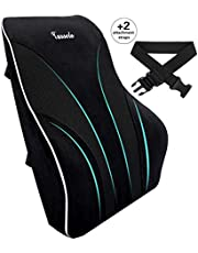 Tusscle Lumbar Pillow, Memory Foam Back Support, Lumbar Support Cushion, Lower Back Tire, Comfort Back and Lumbar, For Office Chair, Car Seat, Wheelchair and Recliner, Black