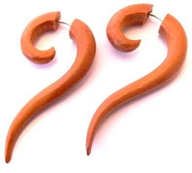 Falso Dilatador Pendientes Piercing madera étnica Gauge Wooden Fake Wood par espiral: Amazon.es: Joyería