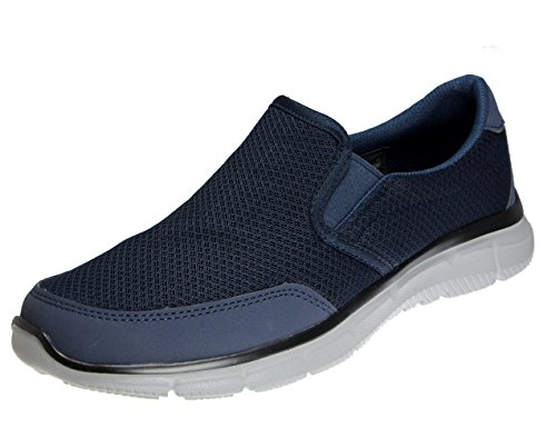 skechers Mens Verse Robust Reef Slip On, Navy/Charcoal, 10 Wide US (Best Deals On Skechers Shoes)