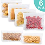 Reusable Sandwich Bags, 6 Packs Airtight Freezer Bags BPA FREE Ziplock Lunch Bag Storage Bags for Food Travel Storage Home Organization (4 Pack Sandwich Bags & 2 Snack Bags )