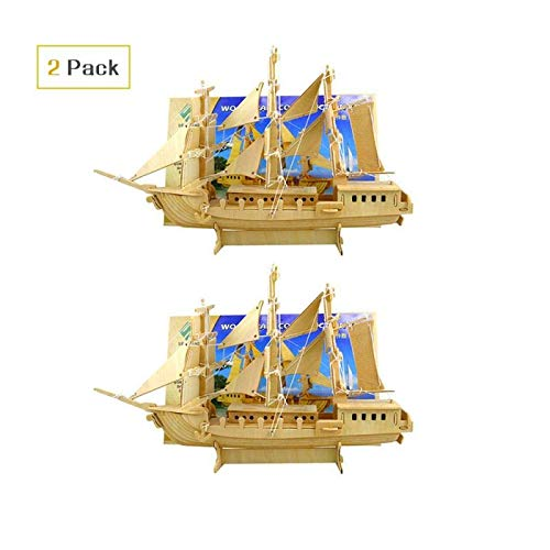3D Wooden Animal Puzzle, Brain Teaser Puzzles Kid's Wooden Building Wood Craft Kits, Educational Toys DIY 3D Sailing Ships Models Grown-up Puzzle (2 Packs)