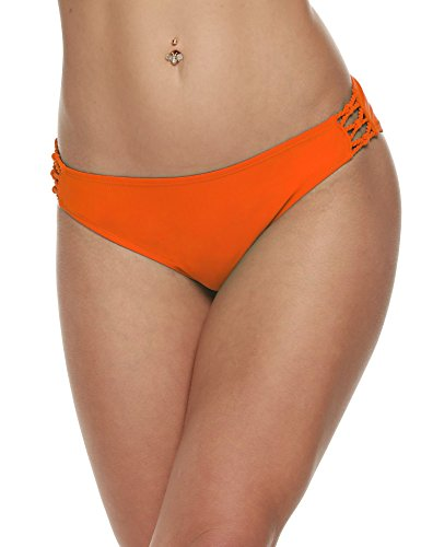 Ekouaer Women Brazilian Bikini Swimwear Beach Suit T-Back G-String Thong Bottom (Orange)