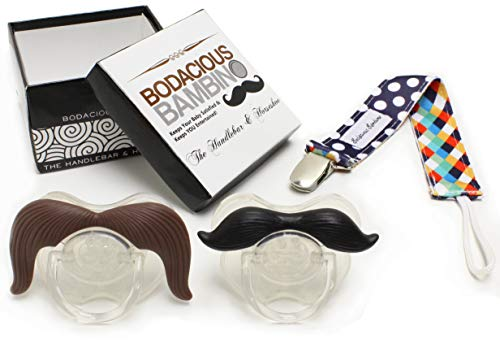 B.B. Mustache Pacifier 2-Pack with Pacifier Clip by Bodacious Bambino | The Horseshoe & Handlebar - Cute & Funny Pacifiers for Babies | BPA-Free