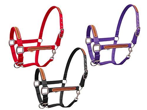 Derby Originals Basket Weave Leather Overlay Nylon Halter, Black (9081 Satin)