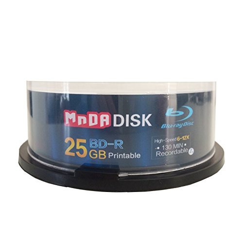 MNDADISK Blank Blu Ray Discs 25GB 50GB BD-R DL High Grade Bluray Dual Layer Spindle (50-Disc, 25GB) by MNDADISK