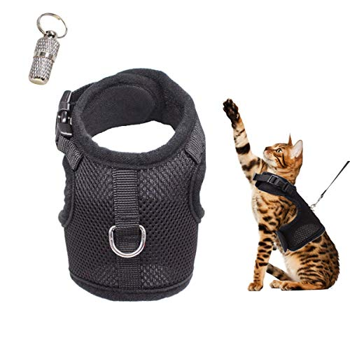 WONDERPUP Adjustable Cat Harness with Leash Set for Walking Escape Proof Soft Air Mesh for Kitty Puppy Rabbits Small Dogs Animal Black M (D-ring Harness Cat)