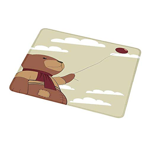 Free Clipart Teddy Bears - Mouse Pad Custom Cartoon,A Melancholic Teddy Bear with Scarf Holding a Balloon Clouds in The Sky Clipart,Beige Cinnamon,Personalized Design Non-Slip Rubber Mouse pad 9.8