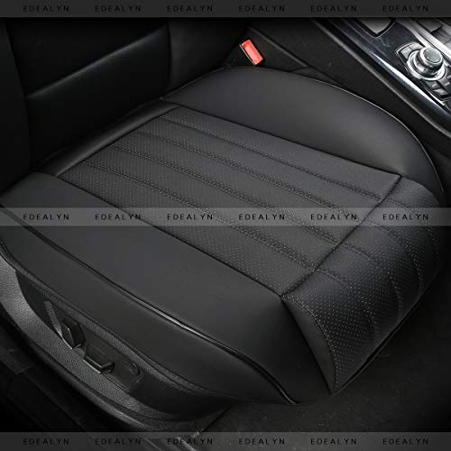 EDEALYN (1 PCS) Car Seat Cover Width20.86 by deep 20.86 inches PU Leather Auto Bottom Seat Protector Cover with Comfort Leg Support Pillow Fit Most Front Driver Seat (Black with Leg Rest) ()