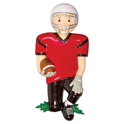 Personalized Football Boy Christmas Tree Ornament 2019 - Goal Star Athlete Play in Red Uniform Helmet Run Gridiron Score Profession Hobby School Coach NFL Grand-Son Gift Year - Free Customization]()