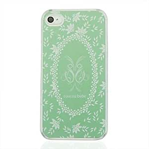 TOPAA Green Wreath Leather Vein Pattern PC Hard Case for iPhone 4/4S