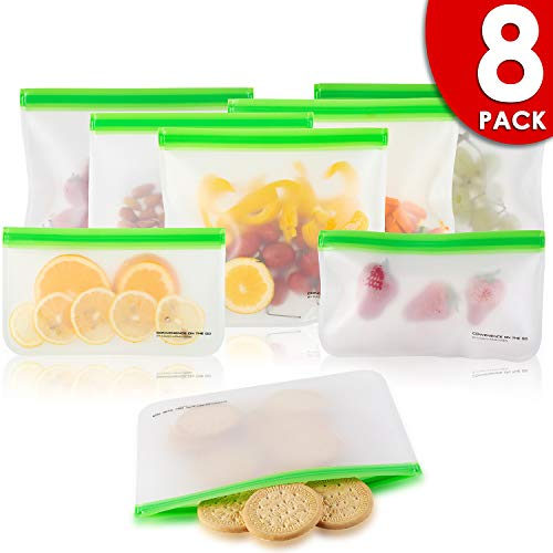 EXTRA THICK Reusable Storage Bags (8 Pack) Silicone and Plastic Free Ziplock for Food, Lunch Sandwich   Small Kids Snack Size, Travel Baggies and More   Bag with Zipper and seal Lock Top Freezer Safe