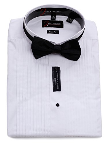 J.Matthews Men's Slim Fit Wingtip Collar Tuxedo Shirt (Bowtie Included )