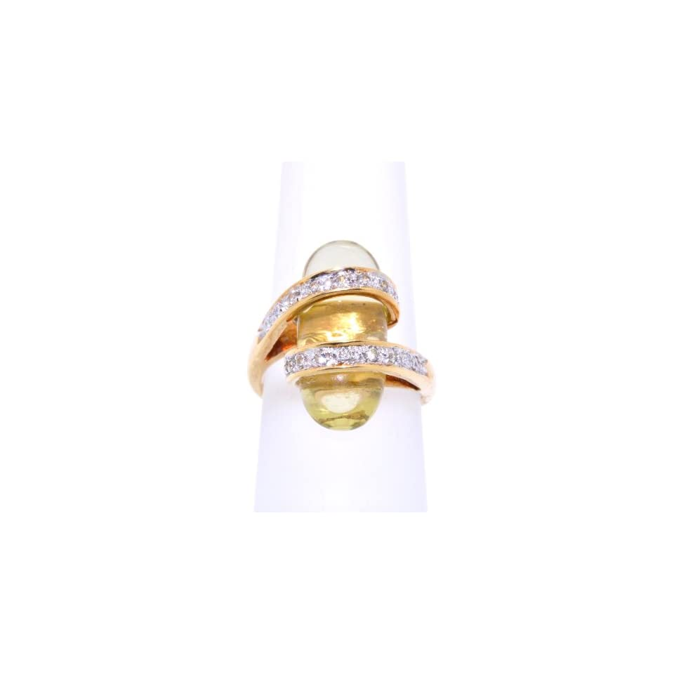 18k Yellow Gold Citrine and Diamond Ring