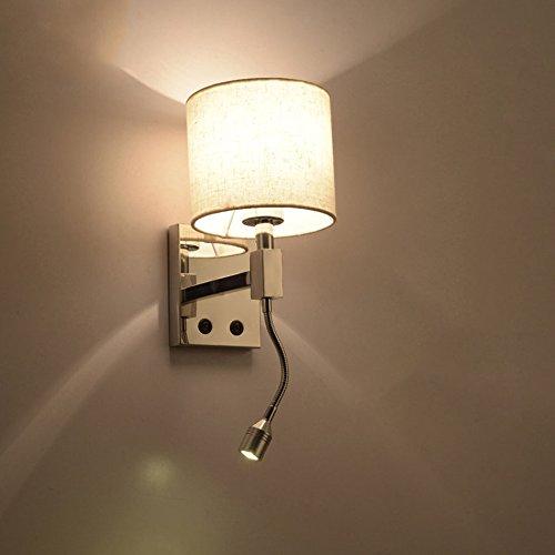 Unbekannt Wandleuchten Moderne Plug In Nachtwandleuchte Hotel Stil poliert Chrom Wandleuchte mit flexiblen 3W LED Leselampe, (Farbe   weißes Licht)