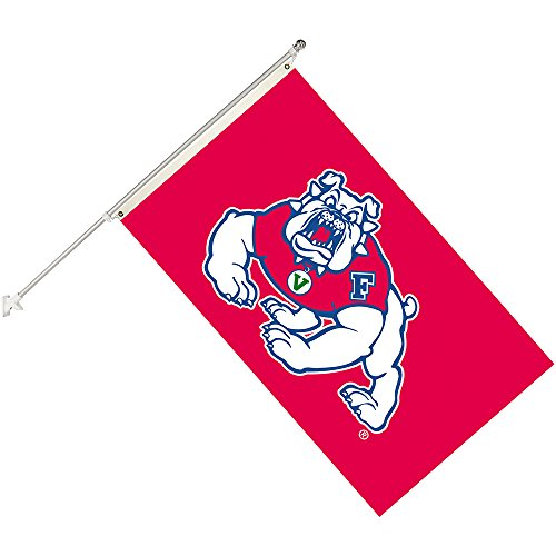 Seasonal Designs NCAA Fresno State Bulldogs Collegiate Helmet Flag Kit, Black, Size 3 x 5