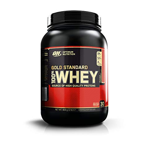 Optimum Nutrition Gold Standard Whey Protein Powder Muscle Building Supplements with Glutamine and Amino Acids, Delicious Strawberry, 30 Servings, 900 g