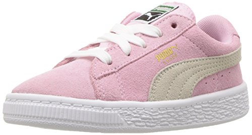 PUMA Unisex-Baby Suede Kids Sneaker, Pink Lady White, 8 M US Toddler
