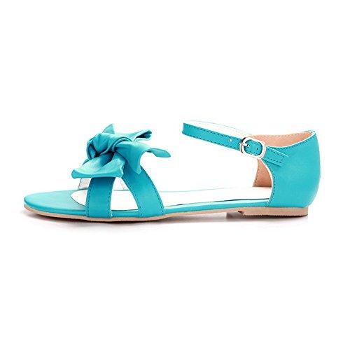 AalarDom Mujer Puntera Abierta Mini Tacón Material Suave Hebilla Sandalias de vestir Azul(1.5cm)