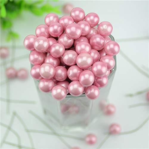 eu-knc 20pcs / lot Mini Plastic Fake Small Berries Artificial Flower Fruit Stamens Cherry Pearl Wedding,Pink