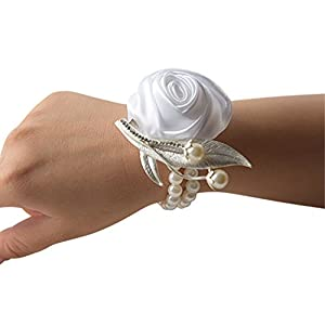 Jackcsale Fashion Wedding Bridesmaid Wrist Flower Corsage Party Hand Flower Decor with Faux Pearl Bead Wristband 47