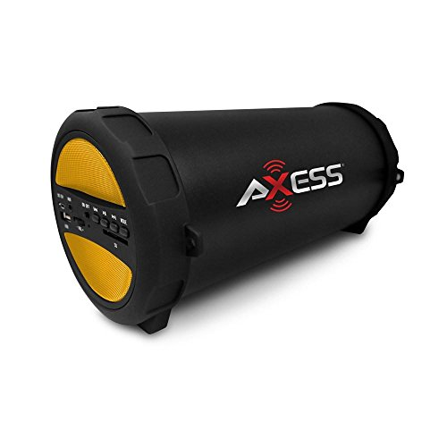 Price comparison product image Axess Thunder Sonic Bluetooth Cylinder Loud Speaker Sd Card Usb Aux Inputs Yellow 10.5in. x 6.25in. x 5.5in.