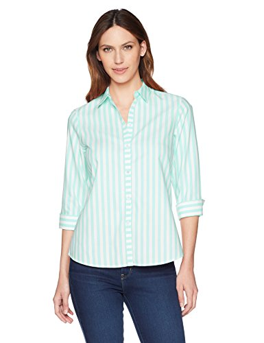 Foxcroft Women's Ava Royal Oxford Stripe, sea Glass, ()