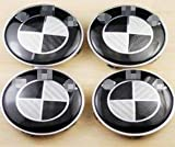 white and black rims - 4 Pcs Carbon Black White Logo Badge Emblem Hub Wheel Rim Center Cap Hubcap 68mm Compatible For BM Wheel Car Model