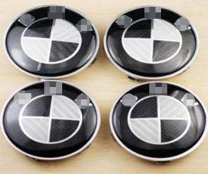 Black Car White Rims (4 Pcs Carbon Black White Logo Badge Emblem Hub Wheel Rim Center Cap Hubcap 68mm Compatible For BM Wheel Car Model)