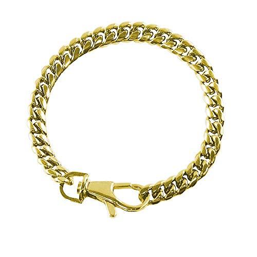 FORZIANI TERRA 8mm Miami Cuban Link Bracelet for Men in 18K Gold Overlay 316L Stainless Steel - 7
