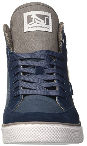 A gray Drunknmunky Classic Uomo Blu Collo Sneaker blue Boston Alto twqAvfB6OW