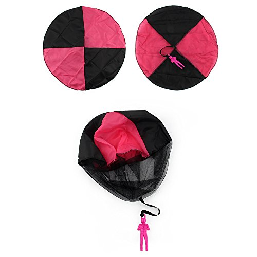 Parachute Toy,iDeep 4 Pieces Set Tangle Free Throwing Parachute Toy with Launcher Toss It Up and watch Landing Outdoor Play Game Toy for Kids