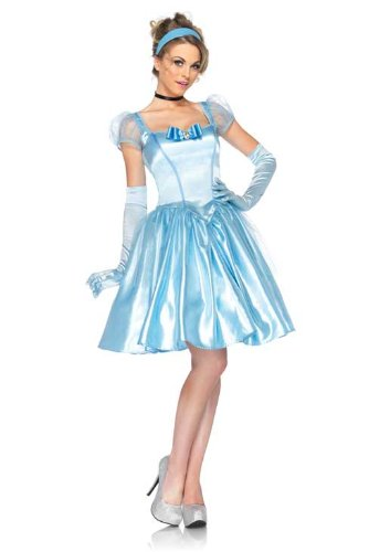 Disney Leg Avenue 3Pc. Classic Cinderella Satin Dress Choker and Headband, Blue, (All Halloween Disney Movies)