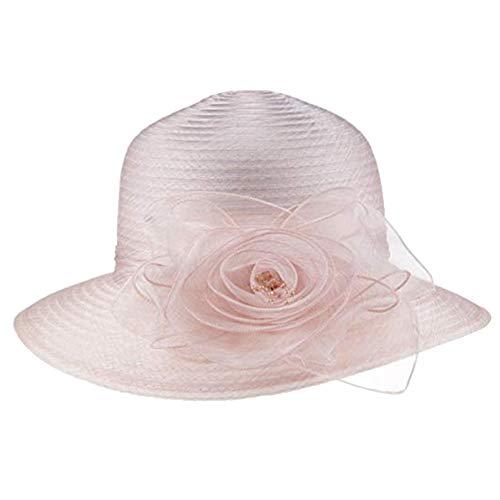 lightclub Vintage Floral Organza Wide Brim Women Kentucky Derby Church Dress Sun Hat Cap Light Pink