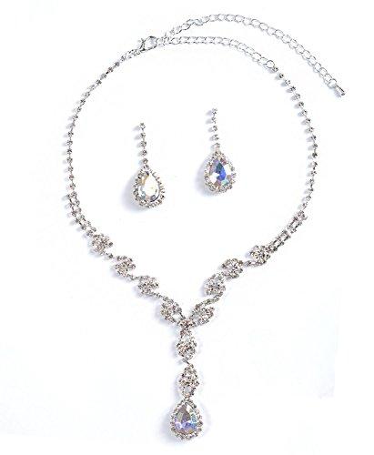 Topwholesalejewel Silver Aurora Borealis Flower Y Necklace & Teardrop Dangle Earrings Jewelry Set